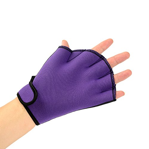 Easyinsmile Swimming Gloves Swimming Hand Paddles Training Swimming Gloves Fingerless Webbed Water Resistance Neoprene 1 Pair (Purple)