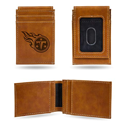 Rico Industries NFL Tennessee Titans Laser Engraved Front Pocket Wallet, Brown