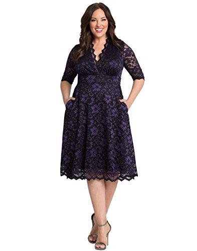 Kiyonna Women's Plus Size Mon Cherie Lace Dress 4X Violet Noir