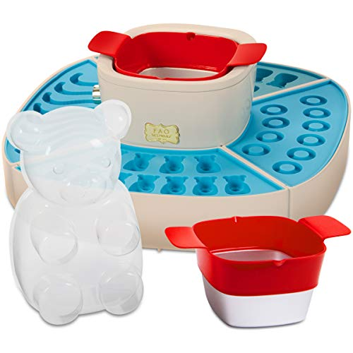FAO Schwarz Kids Gummy Bears & Worms DIY Electric Candy Maker Kit with 4 Silicone Molds & Ice Setting Trays, Gelatin Warmer & Pourer—Make Gummi Rings, Healthy Vitamins, Sugar Free Gummies, and More!