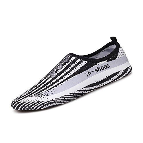 Humasol Men Womens Lightweight Quick-Dry Aqua Shoes Multifunctional Water Socks for Swim Beach Pool Y6-Black & White