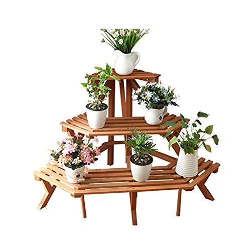 YANFEI Corner Plant Shelf Flower Stand Solid Wood Plant Stand Saffron Yellow 3 Tier Triangle Floor Shelf Home Living Room Terrace Balcony