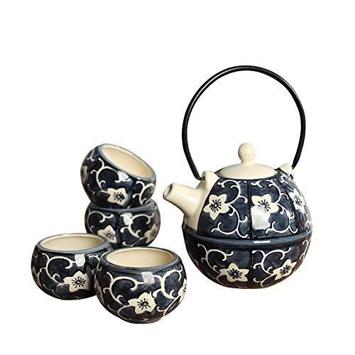 Panbado Tetera con 4 Tazas de Ceramica de Estilo Japones Juegos de Cafe de Porcelana de 5 Piezas Tetera de Te Kungfu de Viaje Portatil, Regalo para Cumpleanos, Navidad, San Valentin - Azul y Amarillo