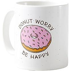 AquaSakura - Hand Drawn Donut Worry Be Happy - 11oz Ceramic Coffee Mug Tea Cup