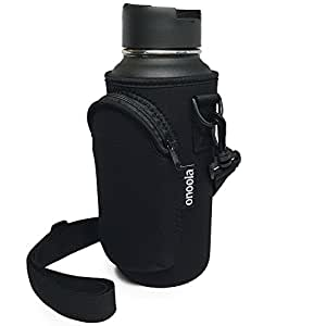 32oz Pocket Carrier for Hydro Flask Type Bottles with Adjustable Straps (Neoprene Sleeve / Pouch / Bag) - Also Great for Lifeline Fifty Fifty, Nalgene, Thermo Flasks