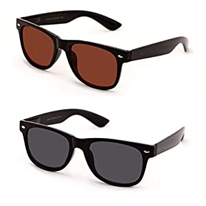 V.W.E Classic Outdoor Reading Sunglasses - Comfortable Stylish Simple Readers Rx Magnification - Not Bifocal (2 pairs black and brown, +2.00)