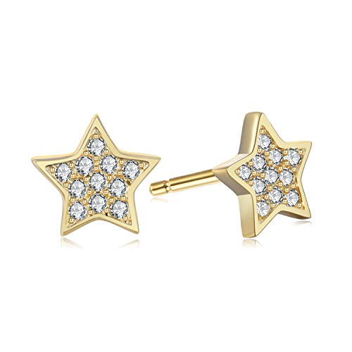 Pave Star Stud Earrings - 18k Gold over 925 Sterling Silver Cubic Zirconia CZ Earrings for Women Teens Girls