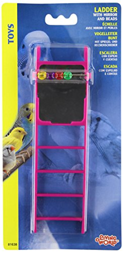 Living World Plastic Small Bird Ladder with Mirror and Bead ()