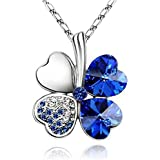 Qiling Four Leaf Clovers Necklace Crystals,Heart Crystal Pendant with Necklace (Blue)
