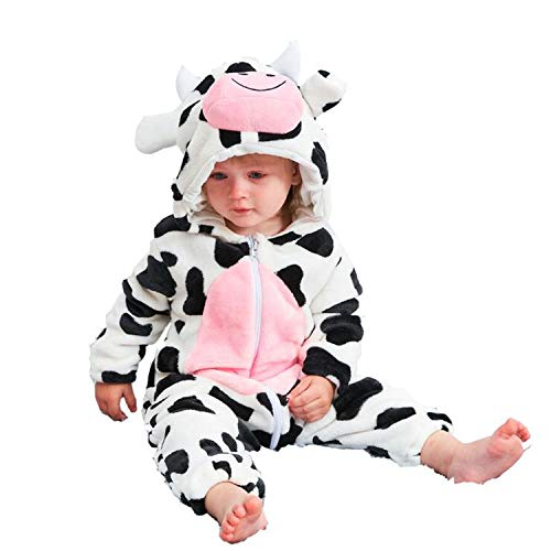 FIZUOXVE Newborn Infant Baby Boys Girls Winter Cute Milk Cow Hooded Romper Costume Warm Fleece Jumpsuit 6-12 Months]()