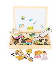 Magnetisk graffiti ritbräda, pusselbräda dubbelsidig magnetisk pussel barngåva pedagogisk leksak lycklig bondgård stil trä pedagogisk leksak gåva