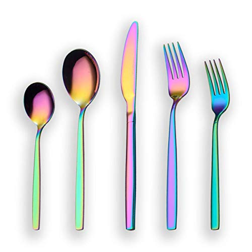 Berglander 20 Piece Titanium Rainbow Color Plated Stainless Steel Flatware Set, 20 Pieces Colorful Silverware Set, Mutil Color Silverware Set Cutlery Sets, Service for 4 (shiny Rainbow) ()