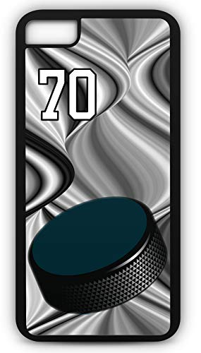 iPhone 7 Case Hockey H056Z Choice of Any Personalized Name or Number Tough Phone Case by TYD Designs in Black Plastic and Black Rubber with Team Jersey Number -