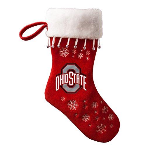 NCAA Ohio State Buckeyes Full Embroidered Snowflake Stocking (Ohio State Buckeyes Christmas Stocking)