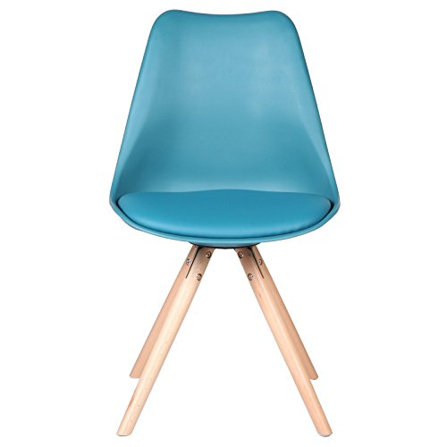 Charles Jacob Style Side Chair with Solid Oak Legs, Teal