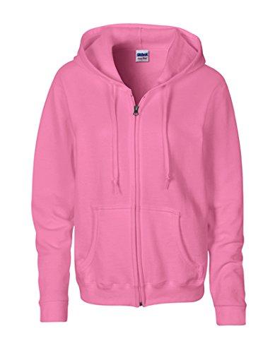 Gildan Womens 8 Oz Heavy Blend 50/50 Full-Zip Hood (G186FL) -Azalea - Zipper Von Online