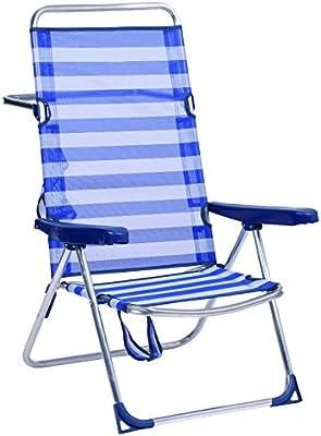 Alco-670ALF-0056 Silla Playa Alta, fibreline, Color Rayas Azules y ...