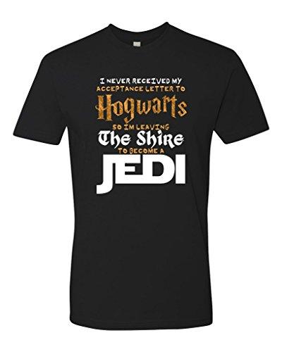Panoware Men's Hogwart's The Shire Jedi Funny T-Shirt, Black, Large (Hogwarts Jedi Tshirt Shire)