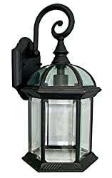 Outdoor Lighting Fixture Exterior Wall Light Arm Down Sconce Die Cast Aluminum Lantern Black WD Clear Glass WX0025
