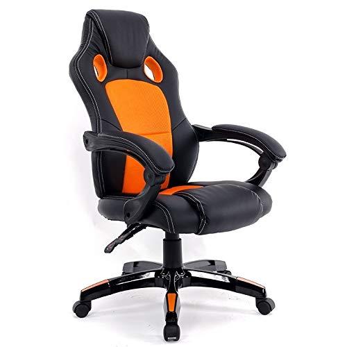GoYisi WKJ-105 0653 dator kontorsstol hem spelstol roterande lyftstol med nylonfötter (svart) (färg: vit) apelsin