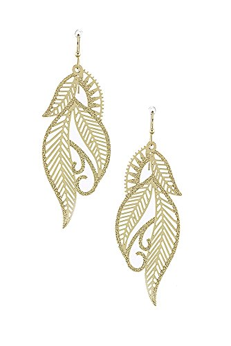 Gold Tone Metal Earrings (Filigree Leaf Design Delicate Metal Laser Cut Out Drop & Dangle Earrings (Gold-Tone))
