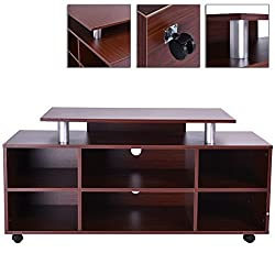 Entertainment Center MDF TV Stand Media Console Storage With 5 Casters Move Around And Lockable TSE174A