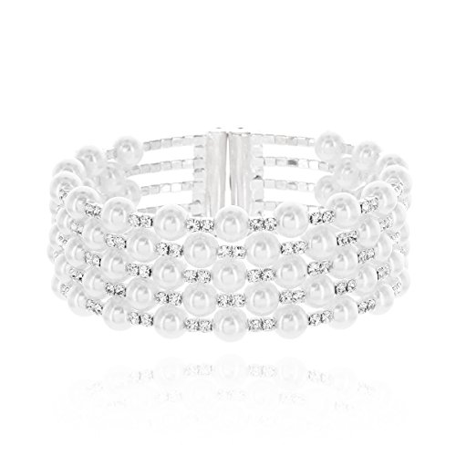 Naccessories Multi Strands Pearl & Rhinestone Bangle Bracelet Cuff in Silver by Naccessories
