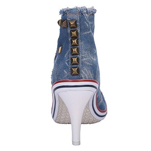 Fereshte Donna Rivetto Scarpe Stringate In Pelle Con Tacco Alto Blu