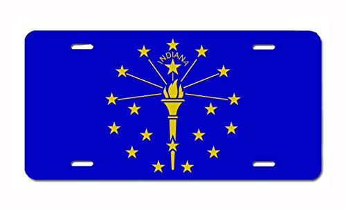 U.S. State Flag Front Plate License / Vanity Plate – Made in the U.S.A. (Indiana)