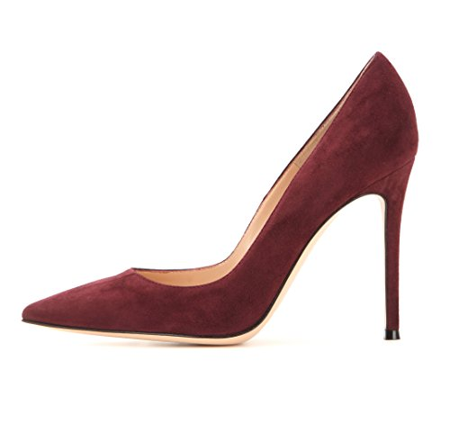 Classic 10cm Burgundy Pumps Women's Shoes Toe Suede Sammitop Heel Stiletto Pointed nBXqnF