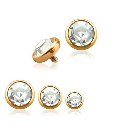 Internally Threaded Dermal Anchors - Covet Jewelry Rose Gold PVD Plated Over 316L Surgical Steel Internally Threaded Dermal Anchors w/Gem Set Flat Bottom Dome (14 GA, Length: 5mm, Rose Gold/Clear)