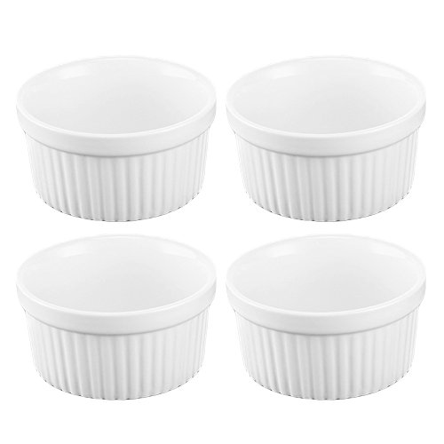 Gosear 4 Pcs 3.5 inch Ceramic Ramekins Souffle Baking Cups for Creme Brulee Custard Dessert Dishes White by Gosear