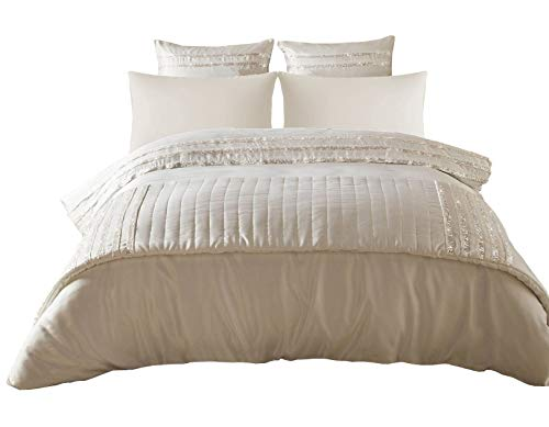 KYLIE MINOGUE BARDOT OYSTER USA QUEEN SIZE (230CM X 220CM - UK KING SIZE) 6 PIECE BEDDING SET