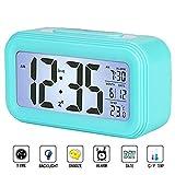 I2USHOP Alarm Clock Battery Operated, Large LED Display Digital Alarm Clock with Calendar Temperature Snooze Backlight, Light Blue