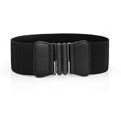 Women Leather Belt Wild Simple Comfortable Waistband Elastic Stretch Dress Waist Belt Buckle Band