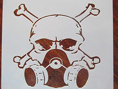 Crazy Discount Skull and Crossbones Gasmask Reusable Stencil for Painting on Wood, Airbrush 10 mil Mylar Laser Cut, 7 1/4