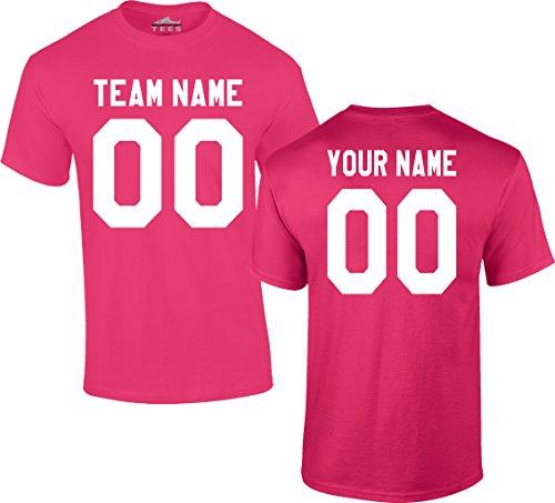 (Custom Jersey-Style Front and Back Short Sleeve T-Shirt (Unisex, Youth/Adult) - Add Your Team, Name, and Number Hot Pink)