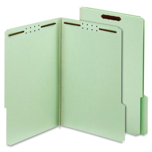 (Globe-Weis Pressboard Folders with Fasteners, 2-Inch Expansion, 2-Inch Fasteners, 1/3 Cut Tabs, Letter Size, Green, 25 Folders per Pack)