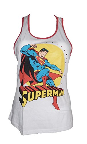 DC Comics Womens Juniors Superman Rhinestones Tank top White (Medium) (Rhinestone Superman)