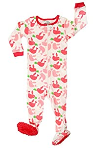 "Elowel Baby Girls footed ""Birds"" pajama sleeper 100% cotton (size 6M-5Years)"
