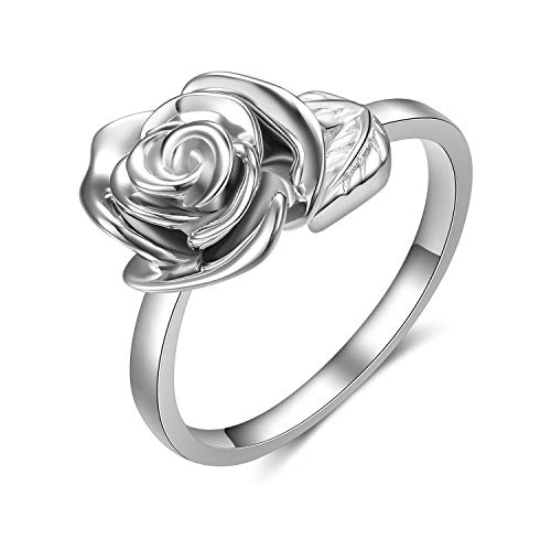 (LUHE Silver Rose Rings 925 Sterling Silver Adjustable Wrap Open Rings Jewelry Gift for Women Girls, (Rose Rings 1))