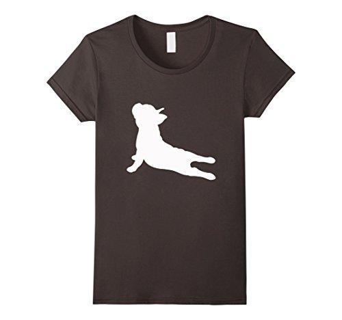 Womens French Bulldog Yoga T-Shirt Small Asphalt (Yoga T-shirt Dog)