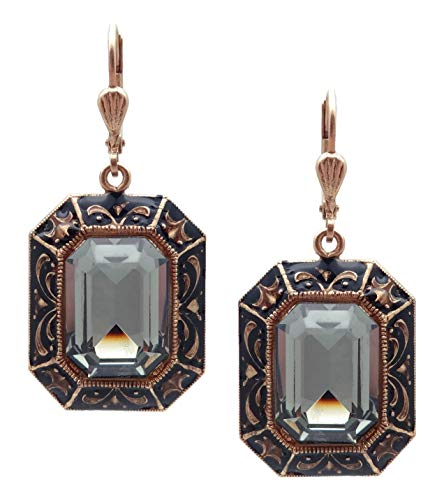 Copper Over Enamel Earring - Catherine Popesco Dark Grey Rectangle Swarovski Crystal & Black Enamel Goldtone Earrings