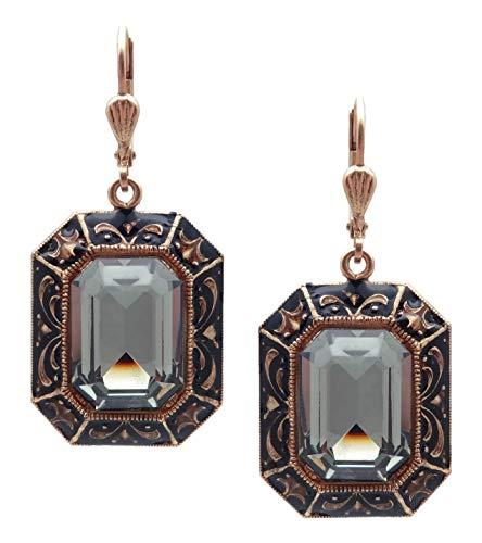 (Catherine Popesco Dark Grey Rectangle Swarovski Crystal & Black Enamel Goldtone)