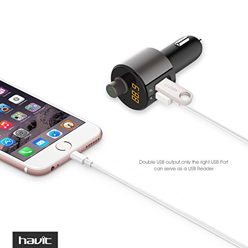 HAVIT-Wireless-Bluetooth-FM-Transmitter-34A-Car-Charger-with-Dual-USB-ports-In-Car-Radio-Adapter-Hands-free-Car-Kit-MP3-Player-with-LED-Display-for-iPhone-Android-Cell-Phone
