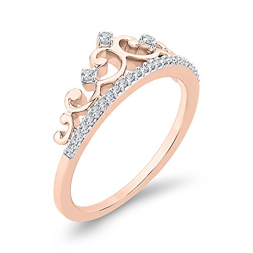 G-H,I2-I3 Diamond Wedding Band in 10K Pink Gold 1//20 cttw, Size-6.25