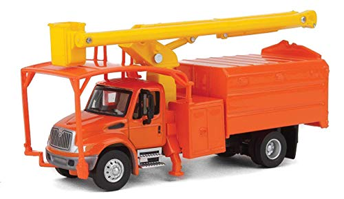 (Walthers HO Scale International 4300 2-Axle Truck with Tree Trimmer Body Orange)