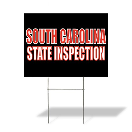 (Plastic Weatherproof Yard Sign South Carolina State Inspection for Sale Sign One Side 18inx12in)