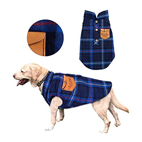 Ruoshui Pet Winter Plaid Cloth Costume Coat Jacket for Dogs Warm T-Shirt Pet Dog Clothes Pet Apparel (M, Blue)