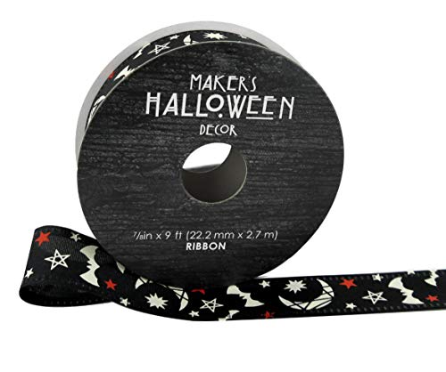 Maker's Halloween Ribbon 7/8''x 9' Moons, Bats & Stars on Black for $<!--$14.99-->